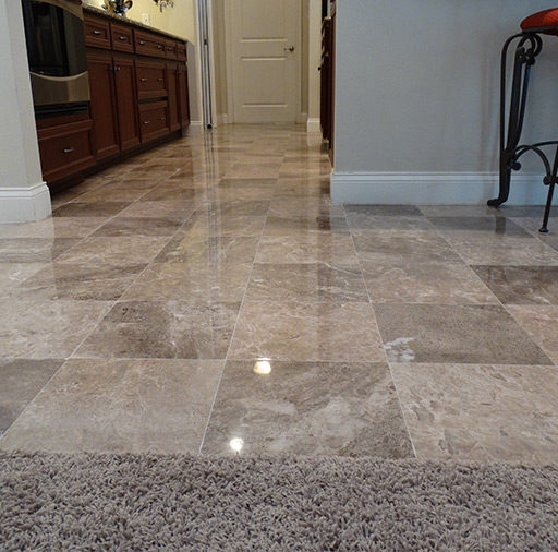 Dull Marble Floor Honed and Polished